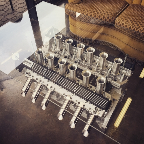 Engine Tables by Laubscher Auto. Beautifully considered handmade coffee tables for automotive enthusiasts made from classic motors, like the Jaguar V12 – XJ13 Homage above.