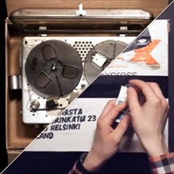 'Dictaphone Parcel'  by Lauri Warsta is an animation based on a sound recorded with a dictaphone travelling secretly inside a parcel.