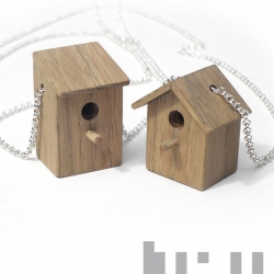 Pretty adorable little, petit, tiny birdhouse necklaces by Tom Frencken! Look at the colored ones as well!
