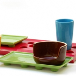 Gorgeous concept for ceramic dishes in Lego style by Vinicius Zarpelon