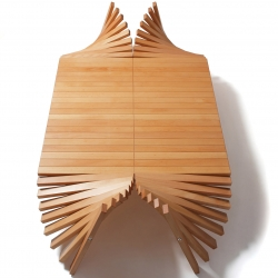 Lepke Coffee Table, formable, with adjustable heights, by rotating the wooden slats.