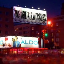 Rotating billboard in NYC in Soho designed by Sagmeister Inc. for Levi's.