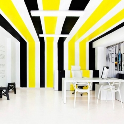 The colorful new design of the Lexington Avenue Agency office in Valencia, Spain. Brilliant design solution to a small office with little natural light.