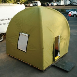 The Life Cube inflatable emergency shelter is demonstrated for the Red Cross and sets up in less than 5 minutes.