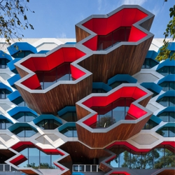 Lyons Architects created a near $100 million jungle gym-like structure for the Lims La Trobe University Molecular Science Building in Australia.