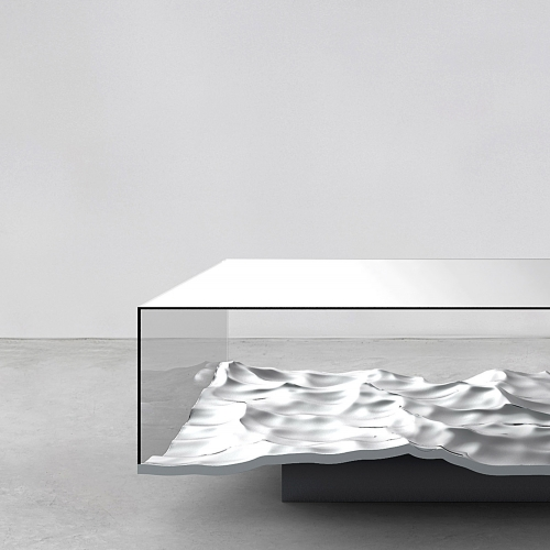 Mathieu Lehanneur imagined the LIQUID tables, made with 3D print on marble and aluminum...