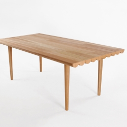 The Logg dining table for Hinika takes the inspiration from rustic log cabins to create a subtle yet extremely modern dining table perfect for the modern or even traditional interior.