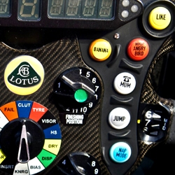 The 2013 Lotus F1 Car was just released and includes a comedic twist on the high-tech steering wheel of these super-cars
