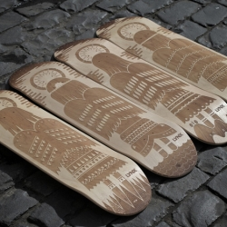 Laser etched skateboard decks to help promote Lynx / Axe's new fragrance. Artwork by Andrew Groves, etching by Joe Mansfield of Engrave.