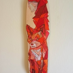 Fox Skateboard Art by Matthew Paris for the On Deck 8 art show May 3 in Missoula, MT. Medium= Paint + Pyrography