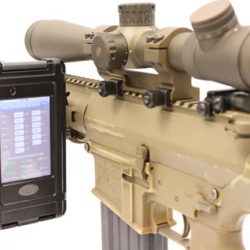 The US Army M110 Sniper Rifle and mounted iPod Touch running the Bullet Flight external ballistics calculator create this amazing shooting game.