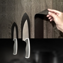 MAG Stickers by AMOD-DOMA - an innovative knife holder. Magnetic vinyl, and that's it! We use it to create magnetic stickers, which are pasted on the kitchen cupboards, easily optimizing kitchen space!
