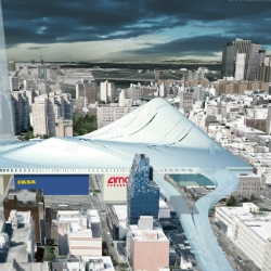 Amazing proposal to cover the roofs of NYC's big-box stores in a giant artificial mountain that offers ski slopes in the winter and verdant hiking trails in the summer.