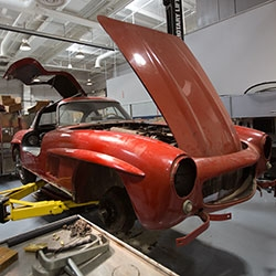 Inside the incredible Mercedes Benz Classic Center in Irvine, CA where they restore vintage Mercedes to factory condition. It is unbelievable what they currently have in the garage and workshop.