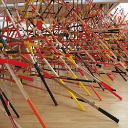 Installation view of Phyllida Barlow's 'Stint' at Mead Gallery, Warwick Arts Centre, England, 2008.