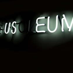 'M_US__EUM' : neon, 2007 by TJ Norris and Scott Wayne Indiana, 40″ x 10″ - edition of 3 with 2APs
