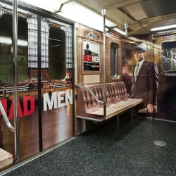 AMC promote the release of Mad Men season 3 in DVD. The idea is to recreate Sterling Cooper agency in NY underground thanks to a clever cover inside a subway train.