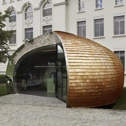 The armadillo-like flagship store for Swiss chocolate manufacturer Maison Cailler in Broc, Switzerland.