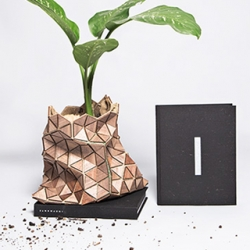 Biodegradable book package up-cycled into a sculptural plant pot, with triangle wood chips and burlap. By Monterrey-based creative firm Estudio Manifiesto Futura.