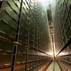 Upstairs, the new Mansueto library in Chicago is a dome covered in 700 panels of glass, but the real deal is downstairs, in an underground storage holding 3.5 million volumes, accessed by robotic cranes! By architect Helmut Jahn.
