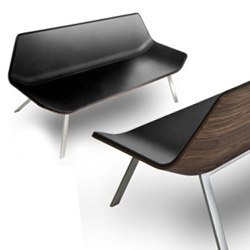 'Otium' seat by Mario Ruiz for Lapalma. Elegant use of wood veneer and upholstered leather.
