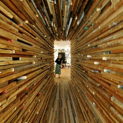 Sebastian Mariscal's lumber tunnel for the 'Mix' exhibit at MCASD in La Jolla served as the entrance to the show.