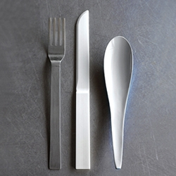 Limited edition 'Hybrid cutlery' by Maarten Van Severen. Set consists of a lacquered wood spoon,  a titanium fork and a zirconium ceramic knife.