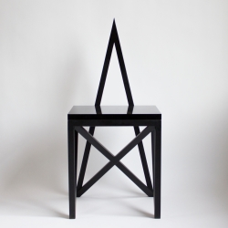 Material Lust's divinely-inspired Pagan Chair – a worship-worthy geometric steel chair rendition of the Pagan star.