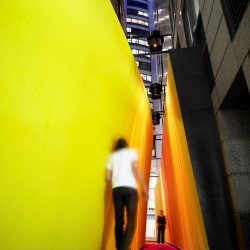 'The Meeting Place' by ASPECT Studios is a playful architectural installation in Sydney, Australia. The idea of the installation is to encourage the social interaction, while heightening the movement of people.