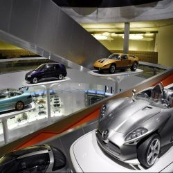 Mercedes-Benz museum in Stuttgart, Germany displays 160 vehicles and over 1,500 exhibits on nine different levels that covers a floor space of 16,500.