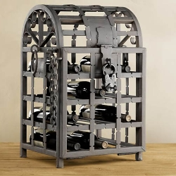 The Metal Wine Cage locks away a dozen bottles of your best vintage wine in an iron cage with a drawbridge style door.