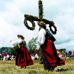 "OR celebrate the summer solstice like the scandinavians ~ partying hard for Midsommar & ""girls and young women are supposed to pick seven different species of flowers and lay them under their pillows. At night, their future husbands appear to them in a dream."""