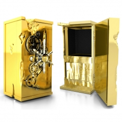 Limited edition Boca de Lobo Millionaire safe. Taken directly from the 19th century, when it was used by banks during the 1849 gold rush, it still bears the marks of the repeated attempts that have been made to crack it.