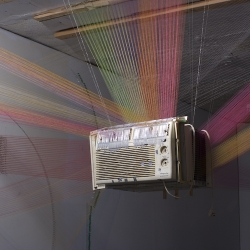 Jimmy Miracle creates site-specific installations and sculptures using thread, needles, and found objects.