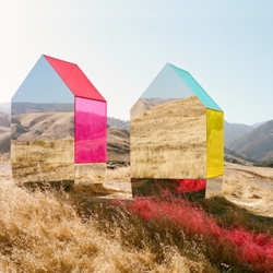 Seemingly floating Monopoly-like mirror houses designed by photographer and creative director Autumn De Wilde, plus a roundup of magical mirror trickery.