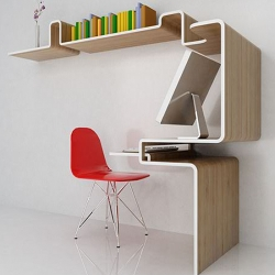 This very slick concept of a desk, the K workstation, by Miso Soup Design is a genius solution for small space living.