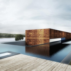 Nemo House, by Polish practice Mobius Architekci. The house was designed to integrate with the sloping site, from the higher side, it seems to emerge from the water.
