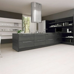 Integrated in a black and white kitchen. This color contrast is a harmonious blend that can describe a comfort in kitchen. Asia kitchen cabinets by Futura Cucine.