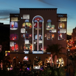 With high-powered video projectors and patented video mapping technology, Klip Collective transform the Art Deco façade of the Edison Hotel in Miami Beach into an eye-catching 3D illusion for the Super Bowl in February 2010.