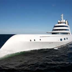 """Philippe Starck's """"A"""" Destroyer - Apparently super yacht """"A"""", named after billionaire owner Andrey Melnichenko's wife Alexandra."""