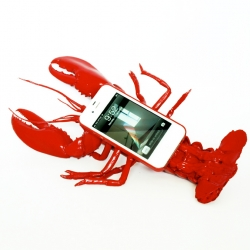 A contemporary appropriation of Salvador Dali's 'Lobster Telephone' (Aphrodisiac telephone). 'Lobster Mobile Telephone Case' by Noddy Boffin.