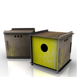 Neatnests are decorative bird shelters for the modern avian mindset. Flat packed and made from scrap material, these are definitely a unique offering in the modern bird house world.