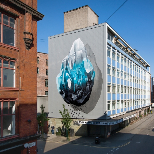 'Inhuman barriers' by Swiss duo Nevercrew, addressing the theme of immigration realized for  of Cities of Hope in Manchester, UK.