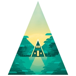 'Hideaways' collection of art prints from Ben the Illustrator, each sits in a different geometric shape on the print and focuses on a different special little getaway in the forest, including A-Frame houses, retro caravans and treehouses.
