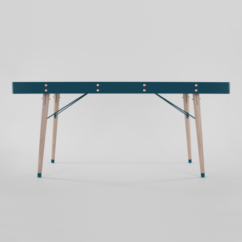 Communauté - dining table with solid oak and formed sheet metal frame featuring hand-buffed copper rivets by Miltonpriest