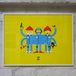 The Life Aquatic With Steve Zissou screen print by UK illustrator Ryan Chapman for Print Club London's 'The Directors Cut' show
