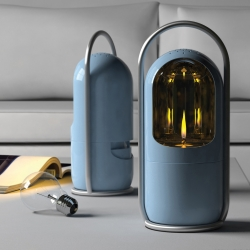 CANDELA from Enever aims to encourage a younger, broader audience to use candles by providing push button lighting and extinguishing and a safe enclosed flame in a retro modern aesthetic.