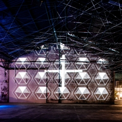 French collective Moooz latest installation in collaboration with LFA architects for the Nuits sonores festival converted a former factory into an interractive glowing web.