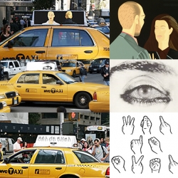 Beginning next month 480 New York city taxi cabs will be displaying the artwork of three  contemporary artists instead of the usual rooftop signs or ads. The project features the works of Alex Katz, Shirin Neshat and Yoko Ono.