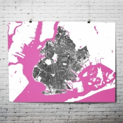 Co-Opt Design Studio have just launched these bold maps of New York boroughs, rendered in bold black, white, aqua blue and shocking pink.